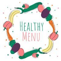 Fondo lindo de la comida sana del Doodle