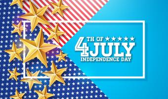 4 juli självständighetsdagen i USA Vector Illustration. Fjärde av juli amerikanska nationella firandet design med stjärnor och typografi brev