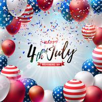 4th of July Independence Day of the USA Vector Illustration. Fourth of July American National Celebration Design with Colorful Air Balloon and Typography Letter on Falling Confetti Background