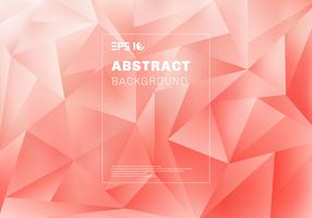 Abstract low polygon or triangles pattern on pink background and texture. vector