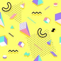 Memphis naadloos patroon kleurrijk. Geometrisch naadloos patroon verschillende vormen mode 80's-90's stijl. Vector illustratie