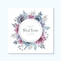 Circle Vintage Watercolor Floral Frame Background