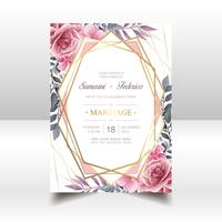 Watercolor Floral Wedding Invitation Gold Frame