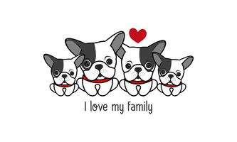 "Cute happy dog family say ""I love my family""."