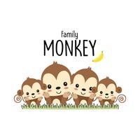Monkey Family Father Mor och baby. Vektor illustration.