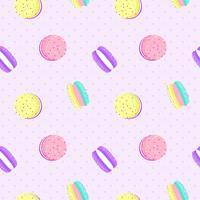 Macaron sömlös mönster med prickbakgrund. Vektor illustration