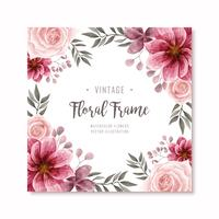 Beautiful Red Watercolor Floral Flowers Frame Background