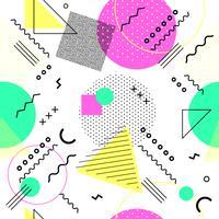 Memphis naadloos patroon kleurrijk. Geometrisch naadloos patroon verschillende vormen 80's-90's stijl. Vector illustratie