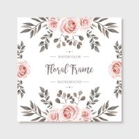Beautiul Vintage Watercolor Floral Frame Flowers Background