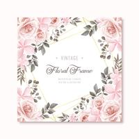 Vintage Watercolor Floral Frame Background