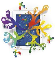 infográfico de ideia com tablet e negócios design vector, ilustração