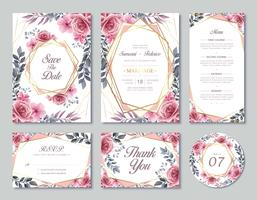 Flowers Wedding Invitation Card Template Set With Watercolor Style vector