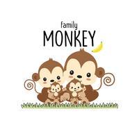 Monkey Family Father Mor och baby.