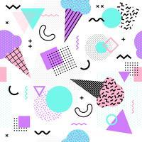 Naadloze patroon van Memphis met ijsje en geometrische verschillende vormen kleurrijke 80's-90's stijl. Vector illustratie