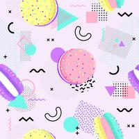 Memphis seamless pattern with macaron and geometric different shapes colorful 80's-90's style. Vector Illustration