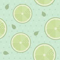 Lime seamless pattern template on blue background. Lemon background vintage style.Vector Illustration.