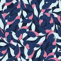 Floral pattern sans soudure. motif de feuilles sur fond bleu foncé pour la conception d'impression. Illustration vectorielle