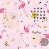 Memphis seamless pattern with flamingo and geometric different shapes colorful fashion 80's-90's style. Vector Illustration