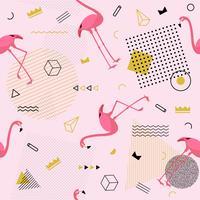 Memphis naadloze patroon met flamingo en geometrische verschillende vormen kleurrijke mode 80's-90's stijl. Vector illustratie