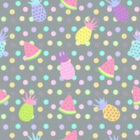 Pineapple and watermelon seamless patterns on dot background for printing and summer banner design, wallpaper and textile fabric print. Vector illustration.