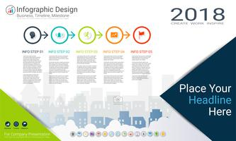 Business infographics template, Milestone timeline or Road map with Process flowchart 5 options.