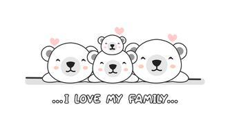 """La famille mignonne heureuse d'ours polaire disent """"j'aime ma famille""""."""