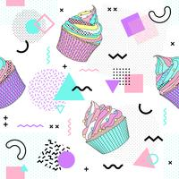 Memphis seamless pattern with cupcake and geometric different shapes colorful 80's-90's style. Vector Illustration