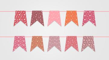 Festive Pink Garlands Bunting Flag Vector