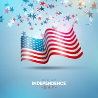 American Flag and Stars on Blue and White Confetti Background