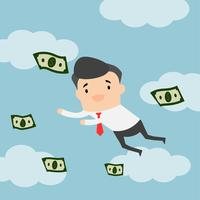Businessman flying on blue sky with clouds. Money floating in the air.