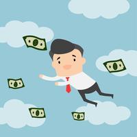 Zakenman die op blauwe hemel met wolken vliegt. Geld zweeft in de lucht.