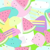 Watermelon seamless patterns on colorful background for printing and summer banner design, wallpaper and textile fabric print. Vector illustration