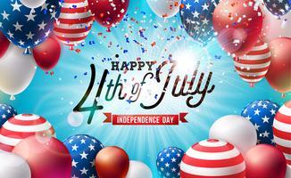 4 de julio Día de la Independencia de la ilustración vectorial de Estados Unidos. Cuatro de julio, diseño de la celebración nacional estadounidense con colorido globo de aire y letra de tipografía sobre fondo de confeti que cae