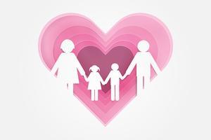 Glückliche Liebesfamilie. Happy Parent's Day mit Vater, Vater und Kindern. Papierkunst Design.