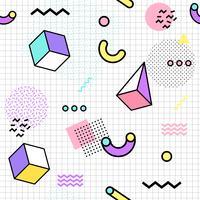 Memphis sömlösa mönster färgstarka. Geometrisk sömlös mönster olika former 80's-90s stil. Vektor illustration
