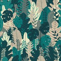 Sömlöst mönster med löv. Tropisk bakgrund för sommarbanner och tryckdesign. Vektor illustration