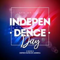 4 de julio Día de la Independencia del ejemplo del vector de los EEUU con la bandera americana y la letra de la tipografía en fondo brillante. Diseño de la celebración nacional del cuatro de julio.
