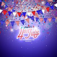 4 de julio Día de la Independencia de la ilustración vectorial de Estados Unidos. Diseño de celebración nacional estadounidense del cuatro de julio con bandera y estrellas sobre fondo azul y blanco de confeti