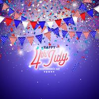 4th of July Independence Day of the USA Vector Illustration. Fourth of July American national Celebration Design with Flag and Stars on Blue and White Confetti Background