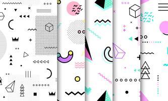 Memphis naadloze patroonverzameling. Geometrisch naadloos patroon verschillende vormen mode 80's-90's stijl. Set van witte Memphis achtergrond. Abstracte vectorillustratie in minimaal ontwerp.