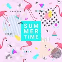 Summer memphis style background with flamingo, watermelon, pineapple and geometric shapes for promotion banner, flyer, party poster, printing and website. Vector illustration.
