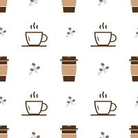 Seamless pattern with ice cup of coffee icon and outline  hot cup of coffee  on a white background. Vector repeating texture.