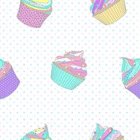 Cupcake seamless pattern with dot background. Vector Illustration