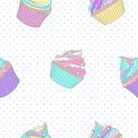 Padrão sem emenda de cupcake com fundo de ponto. Ilustração vetorial