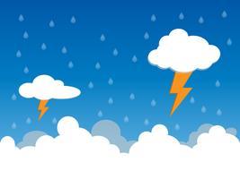 Regenachtige dag, regen en bliksem in clound, vectorillustratie.