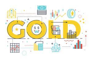 Palavra ouro, lettering, ilustração vetor