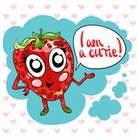 Hand drawing cute sweet strawberry illustration vector.