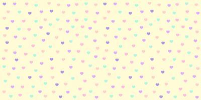 Hartpatroon naadloos in pastelkleur. Het kleurrijke hart schittert op gele achtergrond voor de druk van de babystof, behang, textiel, verpakkend document, banner en kaartontwerp.