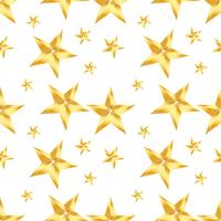 Seamless pattern with golden star  on a white background. Vector repeating texture.