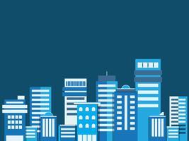 Sfondo di paesaggio urbano. Gli edifici flare stile paesaggio urbano. Architettura moderna. Paesaggio urbano. Banner orizzontale con panorama di megapolis. Illustrazione vettoriale copia spazio per il testo.